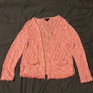 J Crew Cardigan, pink and white, size M
